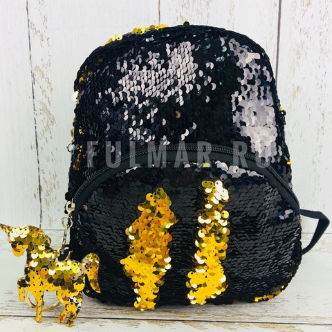 Маленький рюкзак с пайетками меняет цвет Черный-Золотистый и брелок Единорог