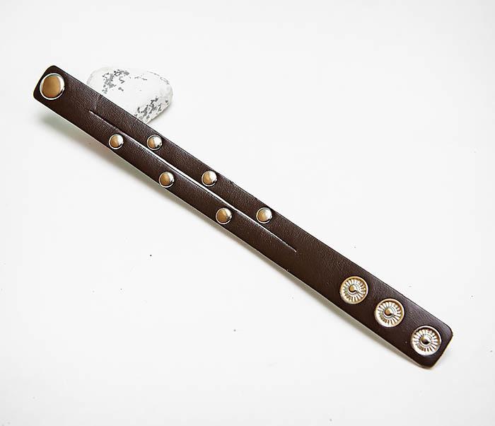 BL794-2 Коричневый кожаный браслет с заклепками фото 02
