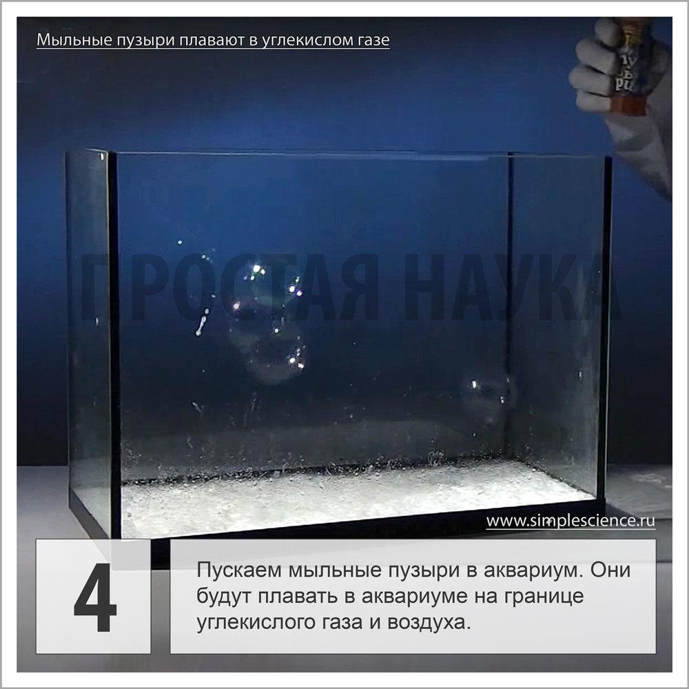 Пускаем мыльные пузыри в аквариум. Они будут плавать в аквариуме на границе углекислого газа и воздуха.