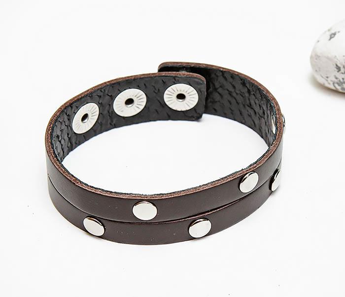 BL794-2 Коричневый кожаный браслет с заклепками фото 03