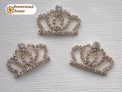 Золотая стразовая округлая корона №5