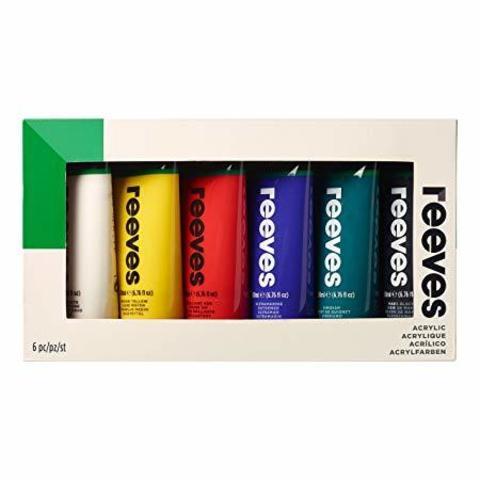 Набор акриловых красок 200 мл 6 цветов в картоновой упаковке (белый, желтый, красный, синий, зеленый