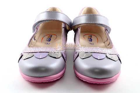 Туфли для девочек кожаные на липучке Тотто, цвет сиреневый, 10210B. Изображение 5 из 12.