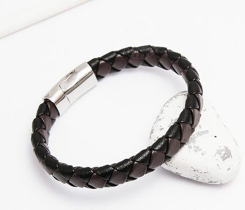 Широкий мужской браслет из натуральной кожи (21 см)