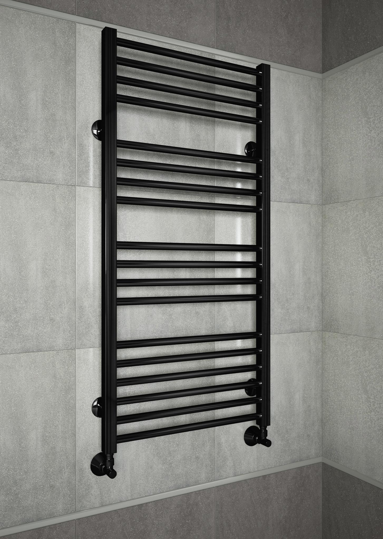 Sicilia E- черный электрический полотенцесушитель с квадратными вертикалями.