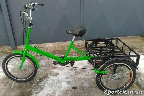 Трехколесный грузовой велосипед 'Пекин' (зеленый) с грузовой платформой и колесами 20