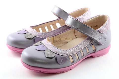 Туфли для девочек кожаные на липучке Тотто, цвет сиреневый, 10210B. Изображение 6 из 12.