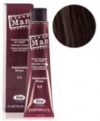 Оттенок 5 светло-каштановый Безаммиачный профессиональный крем-краситель для мужчин Lisap Man Color 60мл