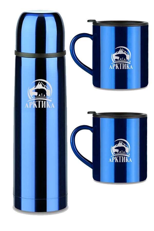 Набор Арктика термос с кнопкой (1 литр) классический + 2 кружки (300 мл.), синий