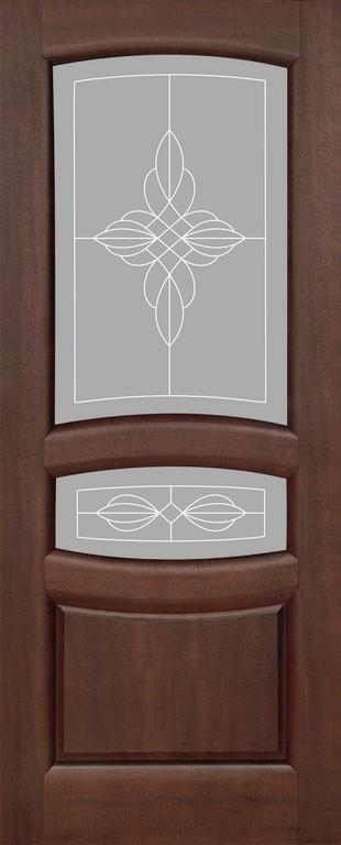 Дверь межкомнатная,Россич Персей ДО, Гравировка Ювелия, Цвета: Красное дерево
