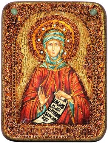 Инкрустированная икона Преподобная Фотиния (Светлана) Палестинская 20х15см на натуральном дереве в подарочной коробке