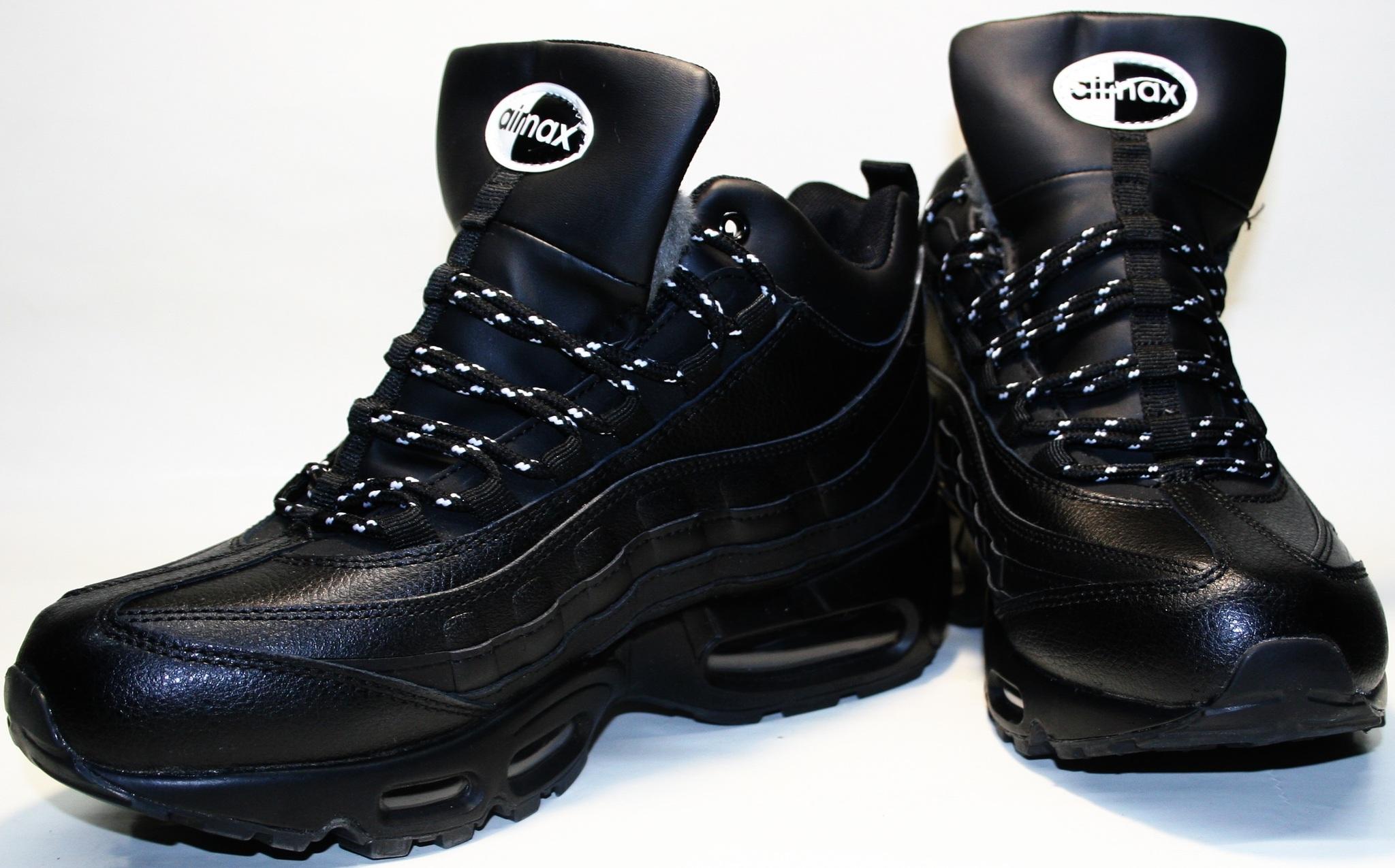 2d718e3e7 Кроссовки зимние мужские Nike Air Max 95 All Black с мехом от 2tufli ...