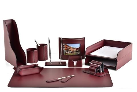 Набор настольный офисный BUVARDO 12 предметов из кожи, цвет бордо
