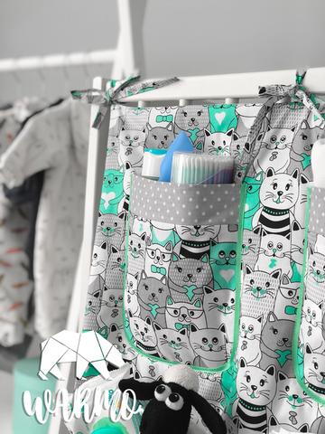 органайзер на дитяче ліжечко з м'ятними котиками фото