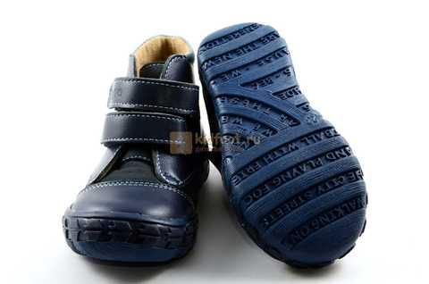 Ботинки Тотто из натуральной кожи демисезонные на байке для мальчиков, цвет темно-синий. Изображение 9 из 11.