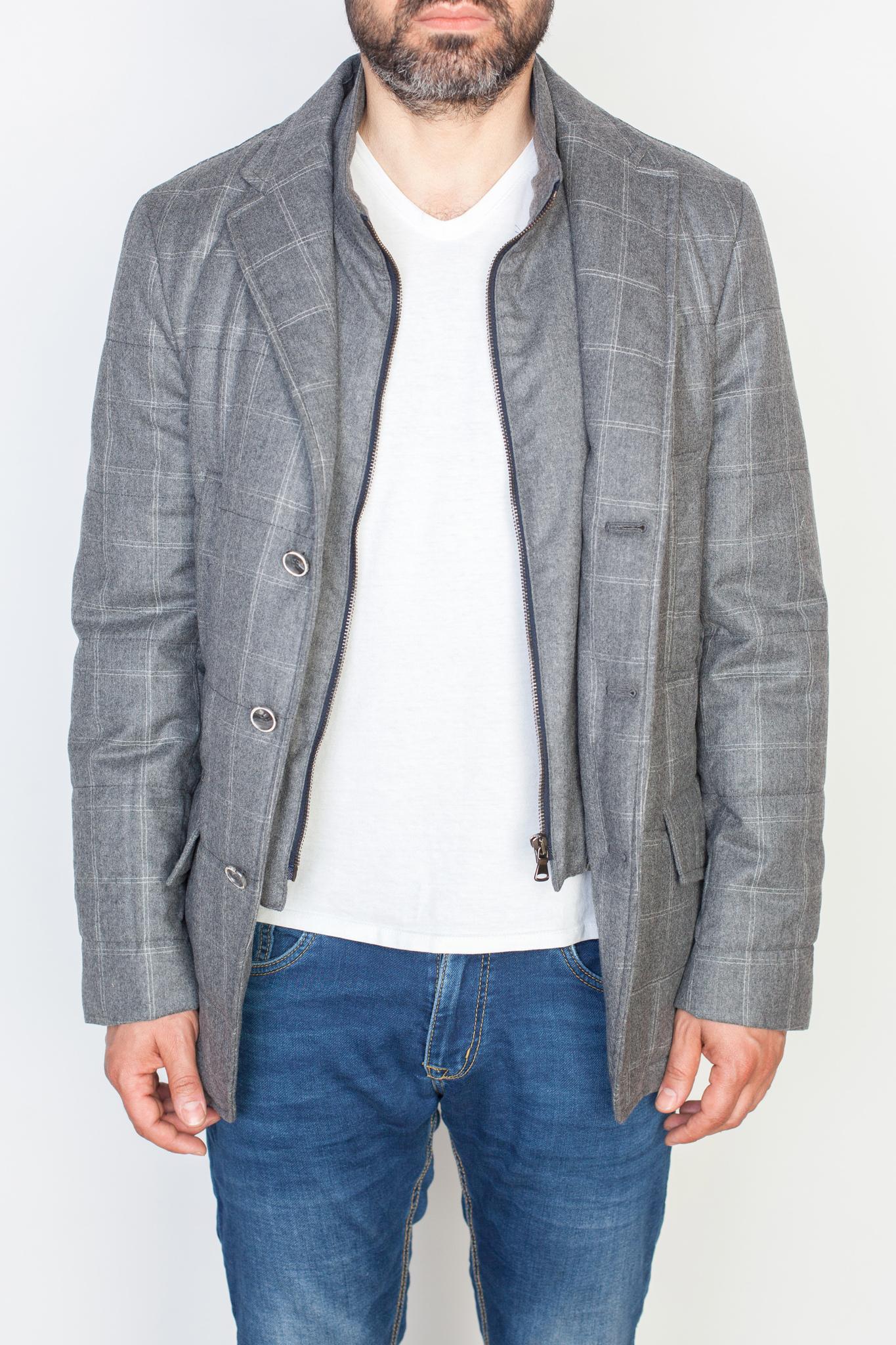Серый дутый пиджак из шерсти Super 120's с подстёжкой на молнии