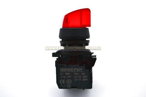 Переключатель с 2 фиксироваными положениями MIWI800-FS-XZDP47, цвет красный, 24 V