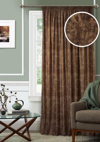 Готовая штора Бархат с подхватом темно-коричневый