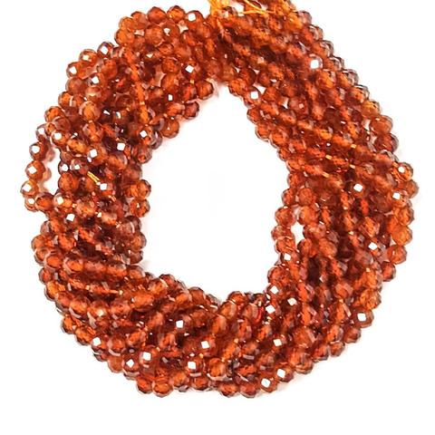 Бусины гранат оранж. (спессартин) A граненый 4 мм нить 19,5 см