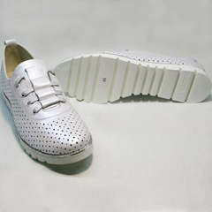 Женские туфли без каблука летние Mi Lord 2007 White-Pearl.