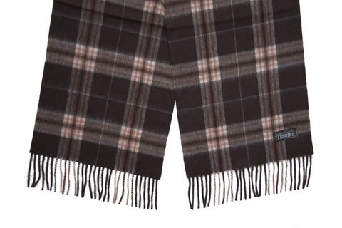 Шерстяной шарф, мужской коричневый в клетку 30171