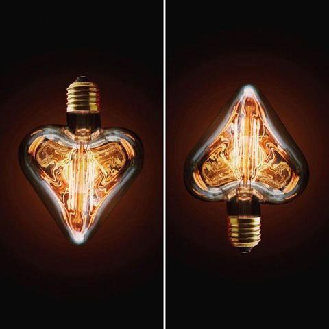 Лампа накаливания E27 40W сердце прозрачное 2740-H