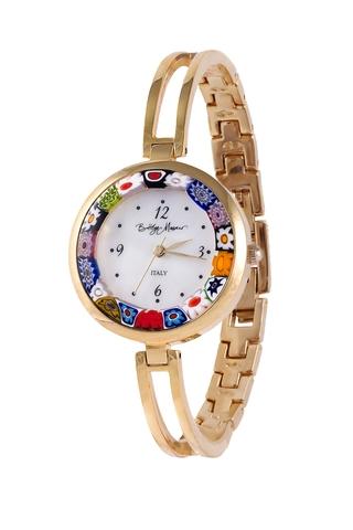 Часы из муранского стекла на металлическом золотистом браслете