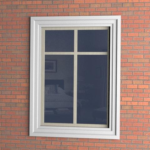 Наличник из пенопласта 180ПН5 на окне в виде рамы.