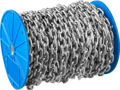 Цепь короткозвенная, DIN 766, оцинкованная сталь, d=5мм, L=45м, ЗУБР Профессионал