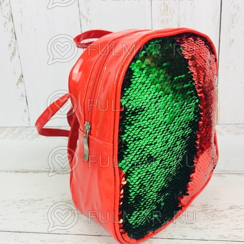 Рюкзак-сумка трансформер с пайетками меняющие цвет Красный-Зеленый