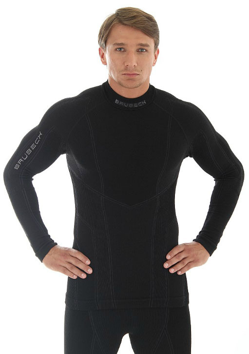 Термобелье рубашка Brubeck Extreme Merino черная (LS10210) мужская