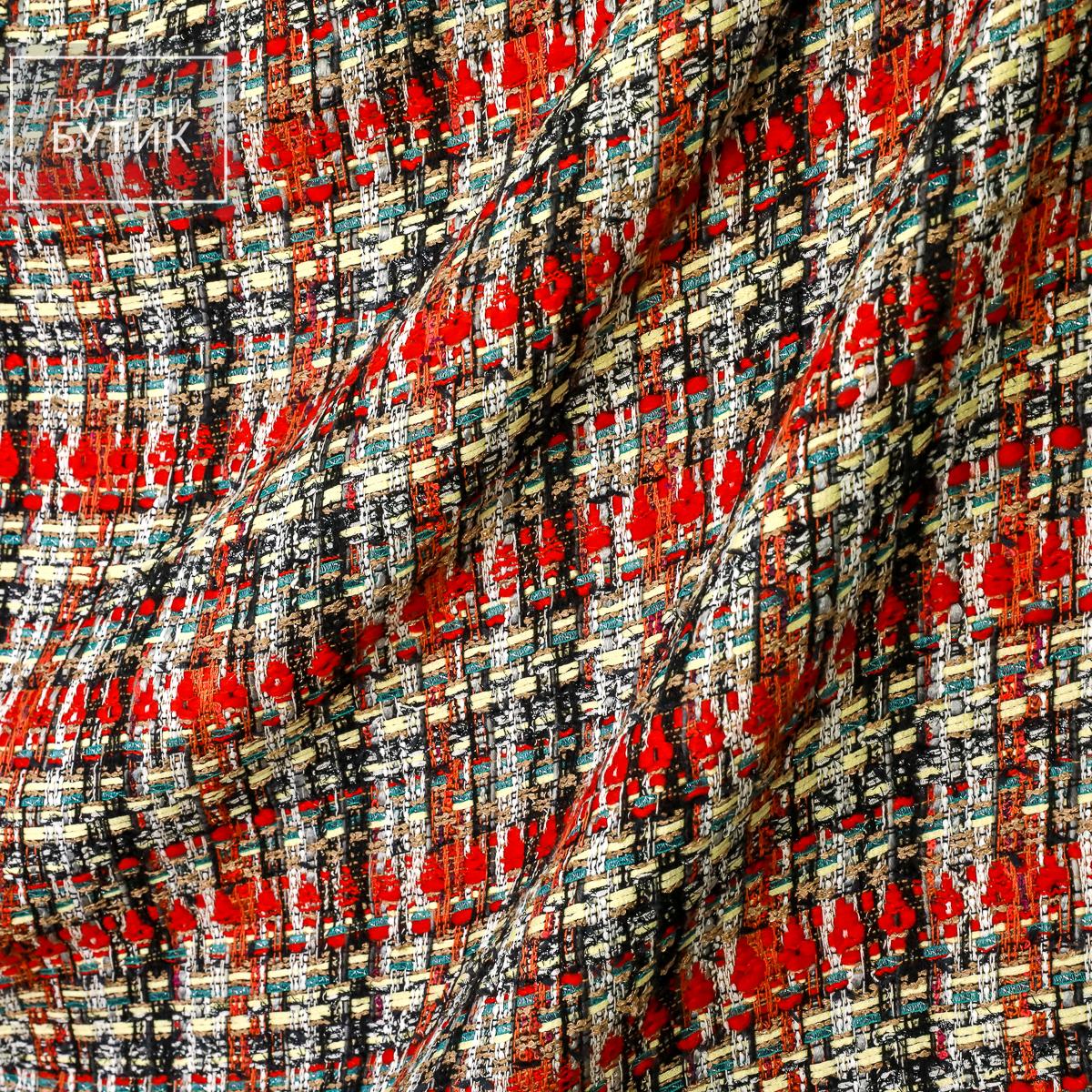 """Пестрая ткань в стиле """"Шанель"""" в красную с черным клетку"""