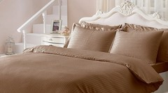 Постельное белье JAQUARD  коричневый жаккард deluxe TIVOLYO HOME Турция