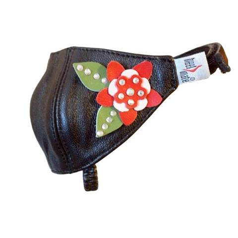 Автопятка для женской обуви на каблуке черная с красной розой