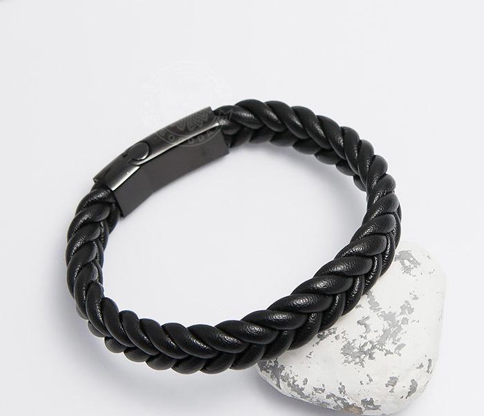 Мужской плетеный браслет черного цвета (20 см) двойной мужской браслет из кожи черного цвета