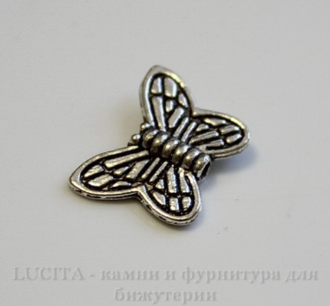 """Бусина металлическая """"Бабочка"""" 15х10 мм (цвет - античное серебро), 10 штук"""