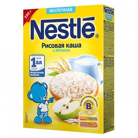 Nestlé® Молочная рисовая каша с яблоком 250гр