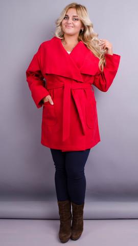 Софи. Стильное пальто больших размеров. Красный.