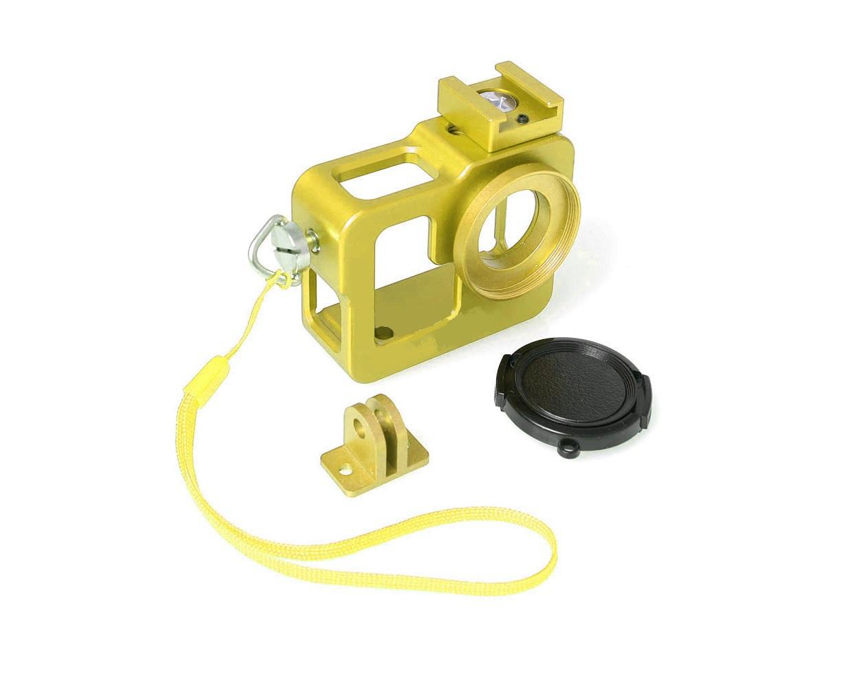FUJIMI GP FMS-200 yellow Алюминиевый чехол-рамка для GoPro, с ремешком и штативным гнездом Цвет: оранжевый