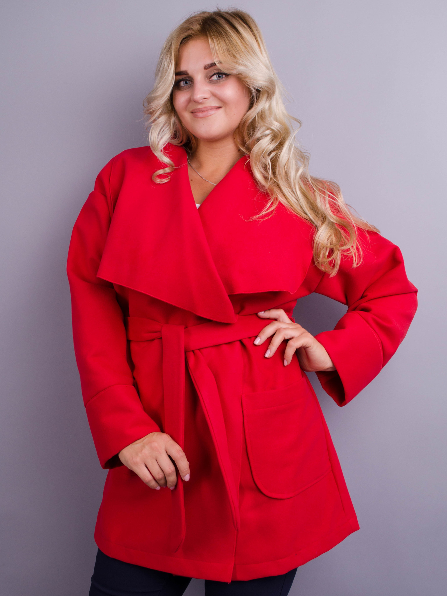 Софі. Стильне пальто великих розмірів. Червоний. - купить по ... 33376db95975f