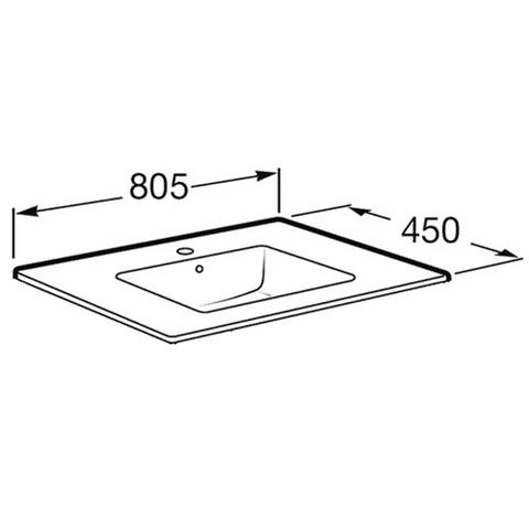 Раковина для мебели Roca Victoria Nord 80x45 32799С000 схема