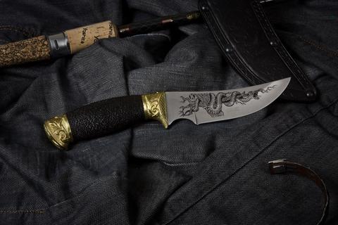 Охотничий нож Гюрза-2 с грабом украшенная Латунью