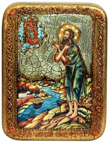 Инкрустированная икона Преподобный Алексий, человек Божий 20х15см на натуральном дереве в подарочной коробке