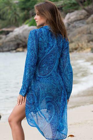 Пляжная рубашка с длинным рукавом синяя