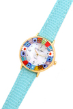 Часы на голубом ремешке из муранского стекла