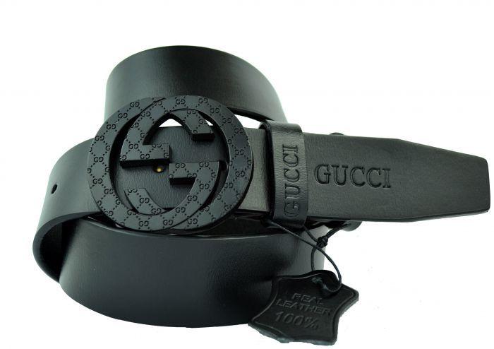 Ремень мужской из кожи для джинс чёрный Gucci (копия) 40 мм 40brend-KZ-116