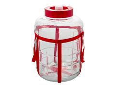 Банка-бутыль стеклянная 32л в обвязке, с гидрозатвором, с отверстием под краник, широкое горло, ручки-обвязки