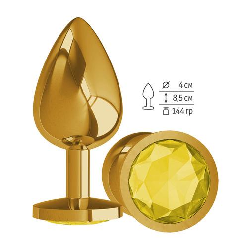 Gold Анальная втулка с Желтым кристаллом большая фото