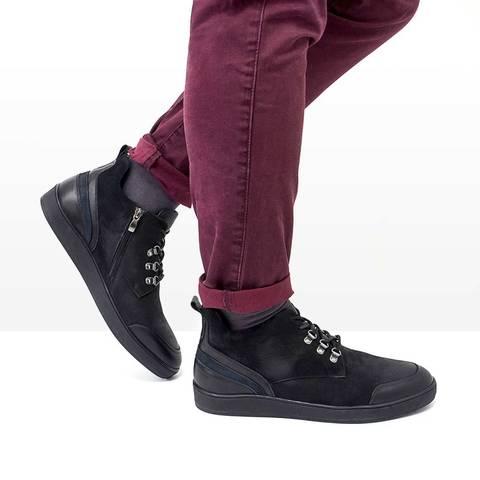 Мужские зимние ботинки из натурального нубука.