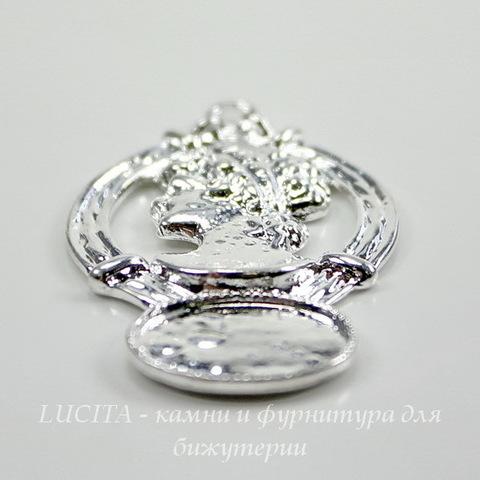"""Сеттинг - основа - подвеска """"Дама"""" для камеи или кабошона 14х10 мм (цвет - серебро)"""